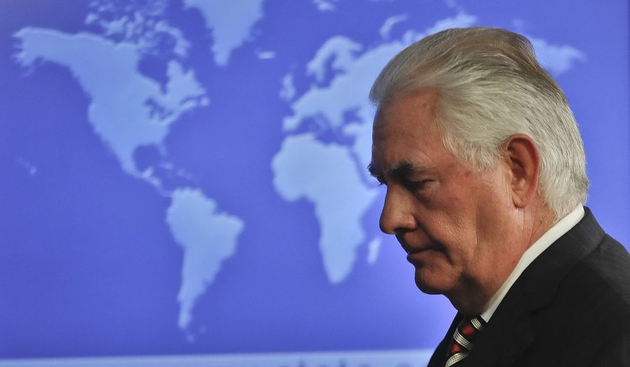 Secretary of State Rex Tillerson leaves after speaking at the State Department in Washington, Tuesday, Aug. 22, 2017, to discuss Afghanistan. (AP Photo/Pablo Martinez Monsivais)