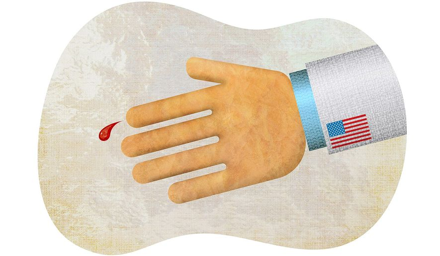 Do We Not Bleed? Illustration by Greg Groesch/The Washington Times