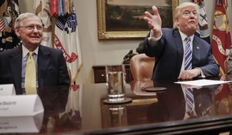 In this June 6, 2017 photo, Senate Majority Leader Mitch McConnell of Ky. listens as President Donald Trump speaks in the Roosevelt Room of the White House in Washington. The rift between President Donald Trump and Senate Majority Leader Mitch McConnell is poised to have lasting consequences on the GOP legislative agenda and Republicans' re-election prospects. (AP Photo/Pablo Martinez Monsivais, File)