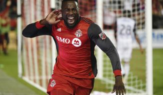 Toronto FC forward Jozy Altidore (17) celebrates after scoring against the Philadelphia Union during the second half of a MLS soccer game, Wednesday, Aug. 23, 2017 in Toronto. (Nathan Denette/Canadian Press via AP)