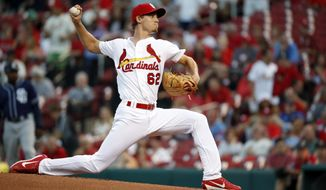 St. Louis Cardinals starting pitcher Luke Weaver throws during the first inning of a baseball game against the San Diego Padres on Wednesday, Aug. 23, 2017, in St. Louis. (AP Photo/Jeff Roberson)