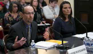 Clifford Rechtschaffen and Martha Guzman Aceves appear before the Senate Rules Committee during their conformation hearing to the Public Utilities Commission, Wednesday, Aug. 23, 2017, in Sacramento, Calif. The pair had been appointed to six-year terms to the commission by Gov. Jerry Brown in December but the Senate has a year to confirm them. Both are expected to be approved the Rules Committee and be confirmed by the Democratic-led Senate.(AP Photo/Rich Pedroncelli)