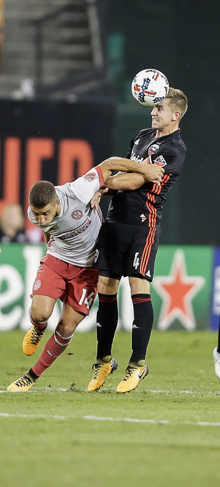 D.C. United midfielder Russell Canouse's (4) shot created the decisive own goal in a win over Atlanta United on Wednesday. (Associated Press)