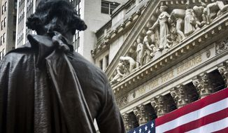FILE - In this Wednesday, July 8, 2015, file photo, Federal Hall's George Washington statue stands near the flag-covered pillars of the New York Stock Exchange. Stocks are rising in early trading on Wall Street, Thursday, Aug. 24, 2017, after several retailers reported earnings that were far better than analysts were expecting. (AP Photo/Bebeto Matthews, File)