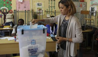 A voter casts her vote in elections in Luanda, Angola, Wednesday, Aug. 23, 2017. Defense Minister, Joao Lourenco, is the front-runner to succeed President Jose Eduardo dos Santos, who will step down after 38 years in power in an oil-rich country. (AP Photo/Bruno Fonseca)