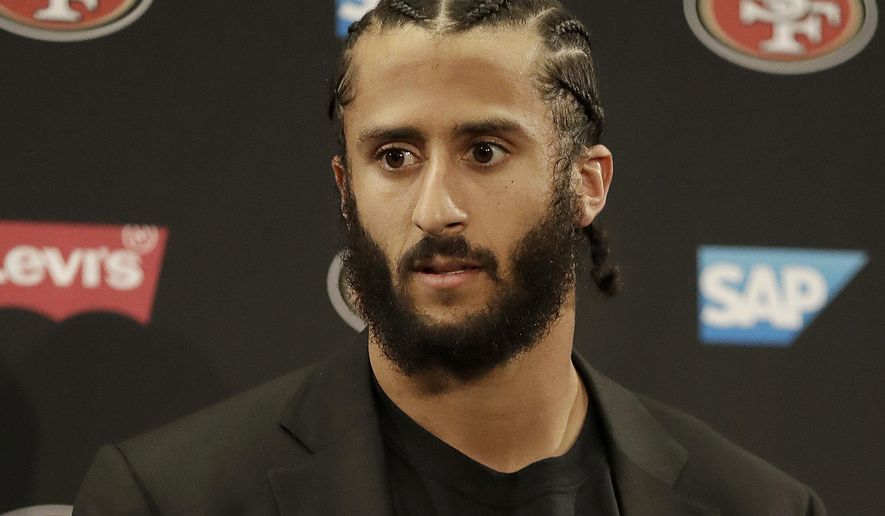 This Jan. 1, 2017, file photo shows then San Francisco 49ers quarterback Colin Kaepernick speaking at a news conference after the team's NFL football game against the Seattle Seahawks in Santa Clara, Calif. (AP Photo/Marcio Jose Sanchez, File)