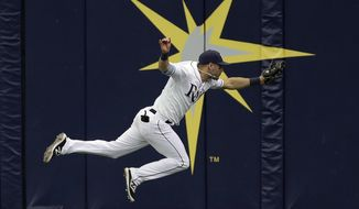 Tampa Bay Rays center fielder Kevin Kiermaier makes a running catch on a fly out by Toronto Blue Jays' Steve Pearce during the fifth inning of a baseball game Thursday, Aug. 24, 2017, in St. Petersburg, Fla. (AP Photo/Chris O'Meara)