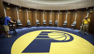 The Indiana Pacers locker room is seen during a tour of the St. Vincent Center, Thursday, Aug. 24, 2017, in Indianapolis. The center, is a five-story, state-of-the-art practice facility that is putting the health, training and comfort of the Pacers players first. (AP Photo/Darron Cummings)