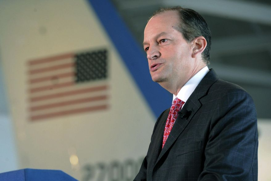 U.S. Labor Secretary Alexander Acosta announces that former President Ronald Reagan is going to be inducted into the U.S. Department of Labor Hall of Honor, Thursday, Aug. 24, 2017, at the Ronald Reagan Presidential Library & Museum in Simi Valley, Calif. Reagan, the nation's 40th president, served terms as president of the Screen Actors Guild in the 1940s and '50s.  (Juan Carlo/Los Angeles Daily News via AP) ** FILE **
