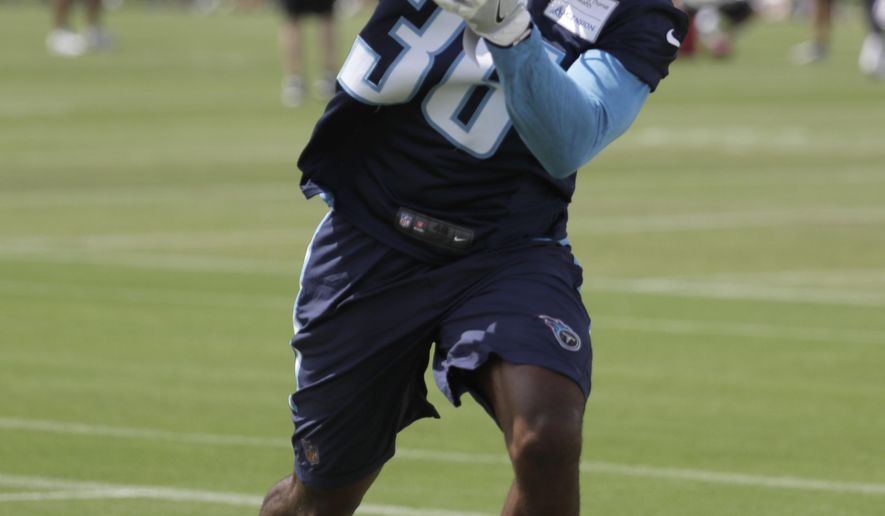 In this June 13, 2017 photo, Tennessee Titans cornerback LeShaun Sims runs a drill during NFL football minicamp in Nashville, Tenn. Sims never talks trash and is just as quiet off the field. That's not stopping the fifth-round pick in 2016 out of Southern Utah from making a strong case to be the Tennessee Titans' starting cornerback. (AP Photo/Mark Humphrey)