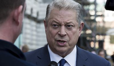 Former U.S. Vice President Al Gore is interviewed upon arrival at the premiere of the film 'An Inconvenient Sequel: Power to Truth', in London, Thursday, Aug.10, 2017 (Photo by Grant Pollard/Invision/AP)