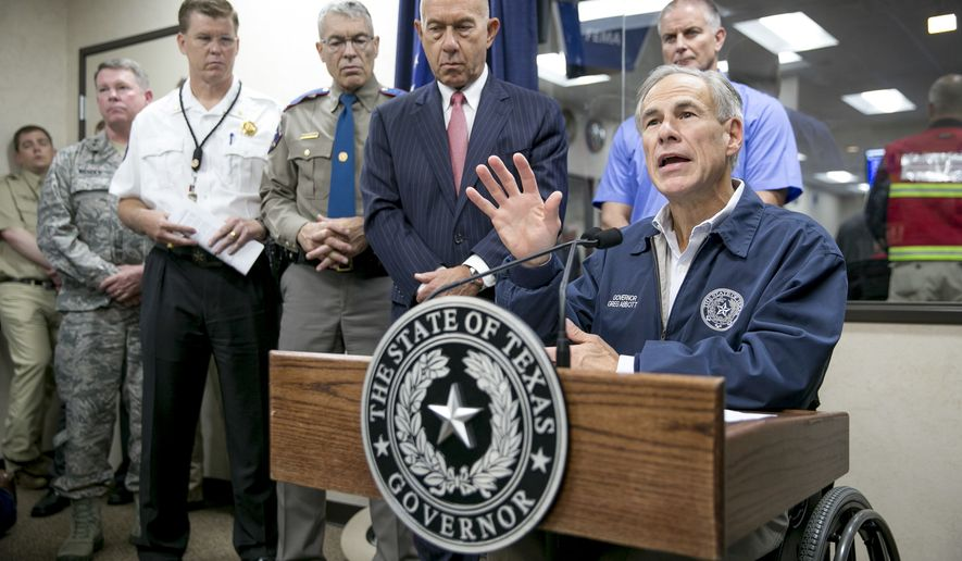 Gov. Greg Abbott speaks at a news conference about Hurricane Harvey at the State Operations Center in Austin, Texas, on Friday, Aug. 25, 2017. Hurricane Harvey is shaping up as just about a worst-case scenario storm with possible flooding from two different directions. ( Jay Janner/Austin American-Statesman via AP)