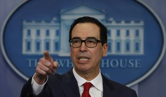 Treasury Secretary Steven Mnuchin speaks during the news briefing at the White House in Washington, Friday, Aug. 25, 2017. (AP Photo/Carolyn Kaster)