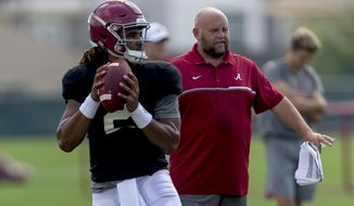 Alabama quarterback Jalen Hurts (2) works through drills during Alabama's football practice, Tuesday, Aug. 22, 2017, in Tuscaloosa, Ala. (Vasha Hunt/AL.com via AP)