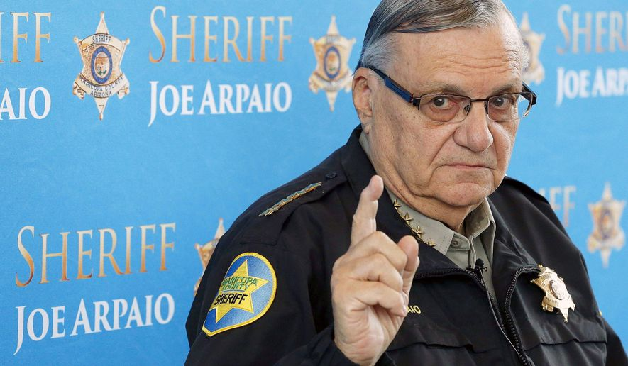 "FILE - In this Dec. 18, 2013, file photo, Maricopa County Sheriff Joe Arpaio speaks at a news conference at the Sheriff's headquarters in Phoenix, Ariz. President Donald Trump has pardoned former sheriff Joe Arpaio following his conviction for intentionally disobeying a judge's order in an immigration case. The White House announced the move Friday night, Aug. 25, 2017, saying the 85-year-old ex-sheriff of Arizona's Maricopa County was a ""worthy candidate"" for a presidential pardon. (AP Photo/Ross D. Franklin, File)"