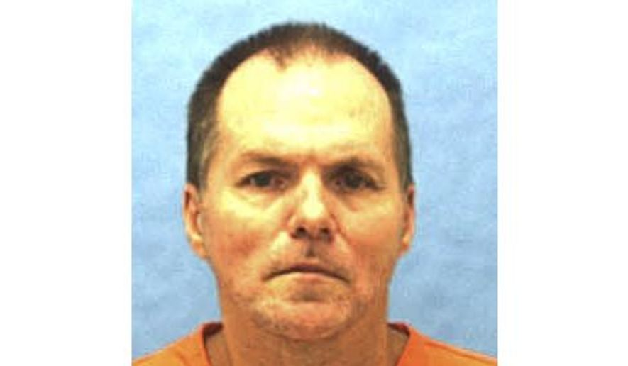 FILE- This undated file photo provided by the Florida Department of Corrections shows Mark Asay. Florida on Thursday, Aug. 24, 2017, executed Asay with an anesthetic never used before in a U.S. lethal injection, carrying out its first execution in more than 18 months on an inmate convicted of two racially motivated murders. Authorities said Asay, the first white man executed in Florida for the killing of a black man, was pronounced dead at 6:22 p.m. Thursday at the state prison in Starke. Asay received a three-drug injection that began with the anesthetic, etomidate. Asay was convicted by a jury of two racially motivated, premeditated murders in Jacksonville in 1987. (Florida Department of Corrections via AP, File)
