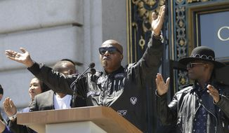 Musician MC Hammer speaks at a rally in San Francisco, Friday, Aug. 25, 2017, ahead of politically conservative rallies scheduled this weekend. Concerned about possible violence, city officials have urged residents to stay away from other gatherings on Saturday and Sunday. (AP Photo/Marcio Jose Sanchez)