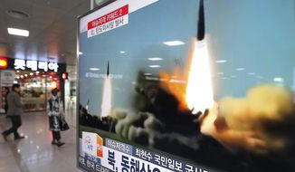 FILE - In this March 10, 2016, file photo, a TV screen shows a file footage of the missile launch conducted by North Korea, at Seoul Railway Station in Seoul, South Korea. Three North Korea short range ballistic missiles failed on Saturday, Aug. 26, 2017, a temporary blow to Pyongyang's rapid nuclear and missile expansion, U.S. military officials said. The U.S. Pacific Command said in a statement that two of the North's missiles failed in flight after an unspecified distance, and another appeared to have blown up immediately. It added that the missile posed no threat to the U.S. territory of Guam, which the North had previously warned it would fire missiles toward. (AP Photo/Ahn Young-joon, File)