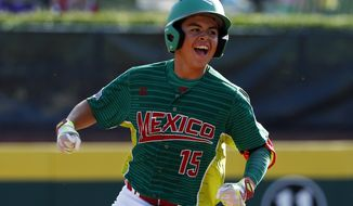 Reynosa, Mexico's Jorge Lambarria rounds second after hitting a two-run home run off White Rock, British Columbia, pitcher Chase Marshall in the fifth inning of a baseball game at the Little League World Series in South Williamsport, Pa., Thursday, Aug. 24, 2017. Mexico won 6-2. (AP Photo/Gene J. Puskar)