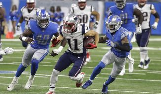 New England Patriots wide receiver Julian Edelman (11) breaks downfield as Detroit Lions linebacker Jarrad Davis (40) and cornerback Darius Slay (23) give chase during the first half of an NFL preseason football game, Friday, Aug. 25, 2017, in Detroit. (AP Photo/Carlos Osorio)