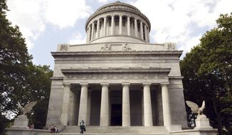 FILE- In this June 24, 2004 file photo, the General Grant National Monument, commonly known as Grant's Tomb, is seen in New York. Grant was the general that led the Union to victory over the Confederacy and later President of the United States. Cities embroiled in a national soul-searching over discriminatory symbols are going beyond the Confederacy to scrutinize whether other monuments should be taken down because of perceived wrongdoing by their honorees, including Grant, for his anti-Semitism. (AP Photo/Kathy Willens, File)