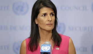 United States Ambassador to the United Nations Nikki Haley speaks to reporters at U.N. headquarters, Friday, Aug. 25, 2017. (AP Photo/Seth Wenig)