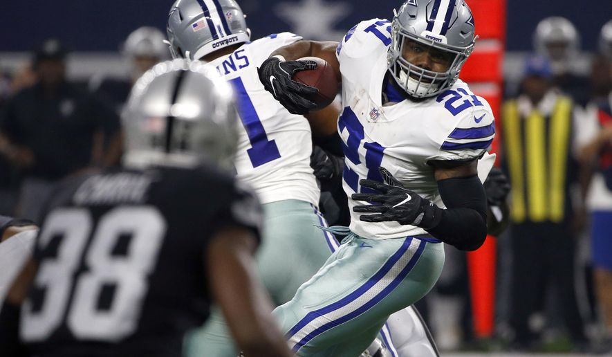 Oakland Raiders cornerback TJ Carrie (38) gives chase as Dallas Cowboys running back Ezekiel Elliott (21) runs the ball through the line of scrimmage in the first half of a preseason NFL football game, Saturday, Aug. 26, 2017, in Arlington, Texas. (AP Photo/Ron Jenkins)