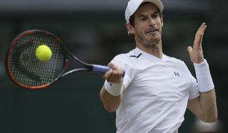 FILE -  This July 12, 2017 file photo shows Britain's Andy Murray returning to Sam Querrey of the United States during their Men's Singles Quarterfinal Match at the Wimbledon Tennis Championships in London. Murray surprisingly announced his withdrawal from the U.S. Open on Saturday, Aug. 26, 2017 because of a hip injury. (AP Photo/Tim Ireland, file)