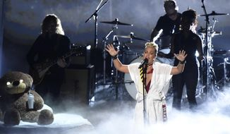 Pink performs a medley at the MTV Video Music Awards at The Forum on Sunday, Aug. 27, 2017, in Inglewood, Calif. (Photo by Chris Pizzello/Invision/AP)