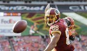 Washington Redskins tight end Jordan Reed (86) watches the ball go by during a preseason NFL football game between the Cincinnati Bengals and Washington Redskins, Sunday, Aug. 27, 2017, in Landover, Md. (AP Photo/Mark Tenally) **FILE**