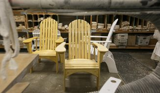 In this Aug. 11, 2017, photo, adirondack chairs built by patients at the Oregon State Hospital are seen in Salem, Ore. (Molly J. Smith/Statesman-Journal via AP)