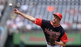 Washington Nationals starting pitcher Erick Fedde delivers during the first inning of the first baseball game of a split doubleheader against the New York Mets, Sunday, Aug. 27, 2017, in Washington. (AP Photo/Nick Wass) **FILE**