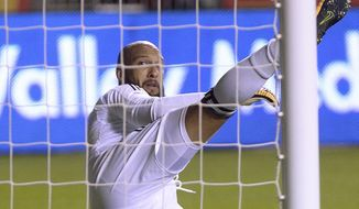 Real Salt Lake midfielder Luis Silva's penalty kick flies past Colorado Rapids goalkeeper Tim Howard during an MLS soccer match in Sandy, Utah, Saturday, Aug. 26, 2017. (Leah Hogsten/The Salt Lake Tribune via AP)