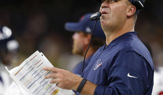 Houston Texans head coach Bill O'Brien looks up from the sideline in the first half of a preseason NFL football game against the New Orleans Saints in New Orleans, Saturday, Aug. 26, 2017. (AP Photo/Butch Dill)