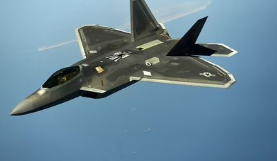 An F-22 Raptor maneuvers after being in-air refueled by a KC-135 Stratotanker April 25, 2014, over the U.S. Central Command area of responsibility. The F-22 is an advanced capability that can be provided to the Combined Forces Air Component Commander within the region to enhance missions supporting stability and security. Since 2009, the Air Force has frequently deployed the F-22 to the Pacific and multiple times to Southwest Asia. (U.S. Air Force photo/Staff Sgt. Vernon Young Jr.)