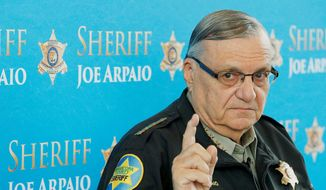 In this Dec. 18, 2013, file photo, Maricopa County Sheriff Joe Arpaio speaks at a news conference at the sheriff's headquarters in Phoenix. (AP Photo/Ross D. Franklin, File)