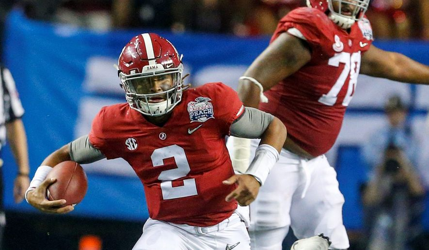"""I played in the national championship, so I guess so,"" Alabama quarterback Jalen Hurts said of being ready to face No. 3 Florida State to start the season. (Associated Press)"