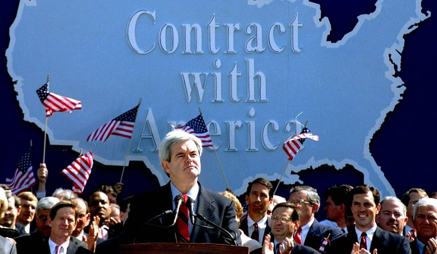 """The scene was Sept. 27, 1994 — when Newt Gingrich released the """"Contract with America"""" that defined Republican values and ideas; a new authorized biography, """"Citizen Newt"""" will tell Mr. Gingrich's story. (Associated Press)"""
