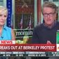 "MSNBC co-host Joe Scarborough slammed the left-wing violence in Berkeley, California, over the weekend, saying there's nothing ""anti-fascist"" about using force to shut down free speech. (MSNBC)"