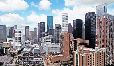 Houston skyline (Photo by Henry Han via Wikipedia)