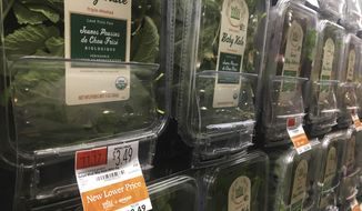 Organic baby kale that has been reduced in price appears on sale at a Whole Foods Market in New York, Monday, Aug. 28, 2017. Amazon has completed its $13.7 billion takeover of organic grocer Whole Foods, and the e-commerce giant is wasting no time putting its stamp on the company. Prices were lowered; Whole Foods brands will soon be on Amazon's site; and Amazon's Prime members could soon get discounts at Whole Foods. The deal could also spur changes in the wider grocery industry. (AP Photo/Joseph Pisani)