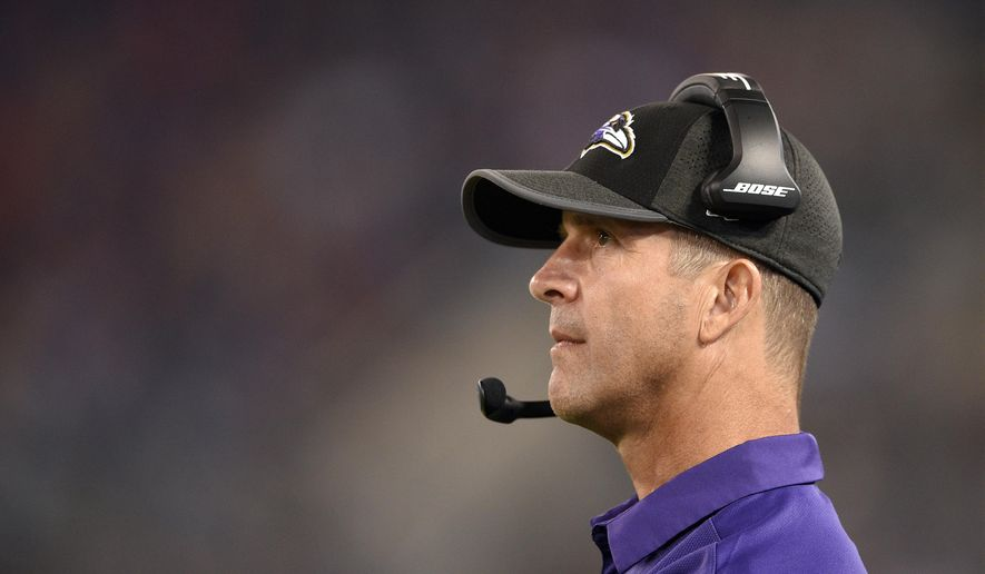 Baltimore Ravens head coach John Harbaugh watches the first half of a preseason NFL football game against the Buffalo Bills, Saturday, Aug. 26, 2017, in Baltimore. (AP Photo/Nick Wass)