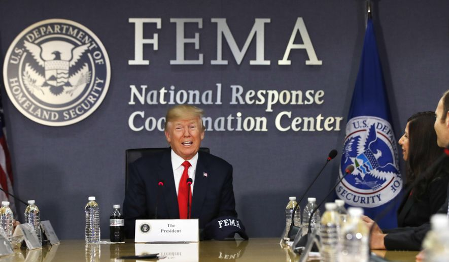 President Trump says the federal government has, for now, enough disaster aid money to deal with the immediate aftermath of Hurricane Harvey, but the ongoing storm appears sure to require a multibillion-dollar recovery package as did Hurricane Katrina and Superstorm Sandy. (Associated Press/File)