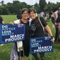 Rabbi Ilene Haigh (left) and Rabbi Jessy Gross march with over 300 Jews in the 1,000 Minister March for Justice in Washington D.C. on Monday. The women are part of the Religious Action Center, the social justice arm of the Reform Jewish movement. (Laura Kelly)