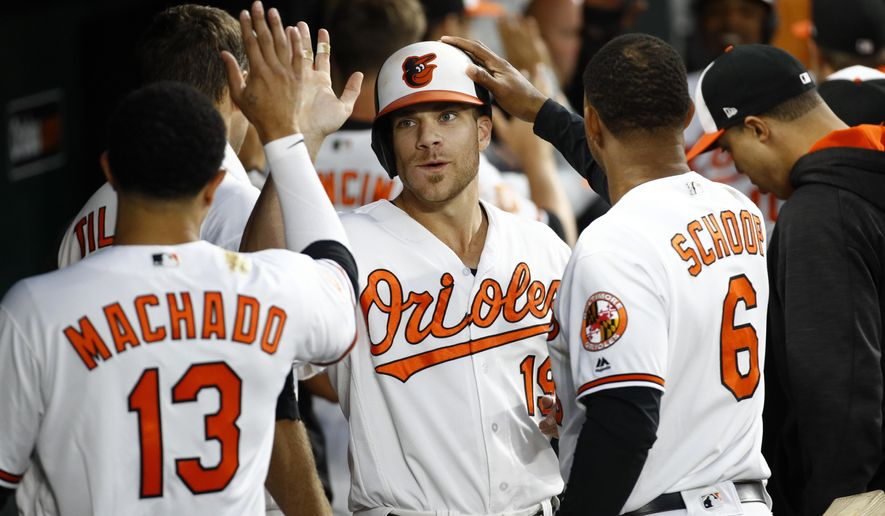 Baltimore Orioles' Chris Davis, center, high-fives teammates in the dugout after scoring on Welington Castillo's single in the second inning of a baseball game against the Seattle Mariners in Baltimore, Monday, Aug. 28, 2017. (AP Photo/Patrick Semansky)