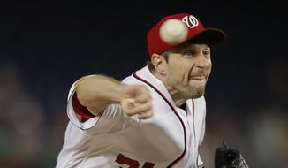 Washington Nationals starting pitcher Max Scherzer delivers a pitch against the Miami Marlins during a baseball game at Nationals Park, Monday, Aug. 28, 2017, in Washington. (AP Photo/Pablo Martinez Monsivais)