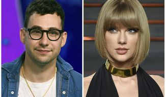 """In this combination photo, music producer  Jack Antonoff appears at the MTV Video Music Awards on Aug. 27, 2017, left, and Taylor Swift attends the Vanity Fair Fair Oscar Party in Beverly Hills, Calif. on Feb. 28, 2016. Antonoff is keeping quiet about who Swift is singing about in her new song, """"Look What You Made Me Do."""" Antonoff co-wrote and co-produced the song that is rumored to be about Kanye West. (Photos by Jordan Strauss, left, and Evan Agostini/Invision/AP, File)"""