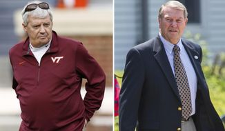 FILE - At left, in a Nov. 26, 2011, file photo, then-Virginia Tech head coach Frank Beamer looks over practice before the Virginia Tech-Virginia NCAA college football game at Scott Stadium in Charlottesville, Va. At right, in a May 25, 2012, file photo, former West Virginia football coach Don Nehlen leaves the funeral service for former West Virginia University head football coach Bill Stewart in Morgantown, W.Va. Former West Virginia coach Don Nehlen and ex-Virginia Tech coach Frank Beamer will participating in the pregame coin flip on Sunday, Sept. 3, when No. 22 West Virginia and No. 21 Virginia Tech play their season opener in Landover, Maryland.(AP Photo/File)