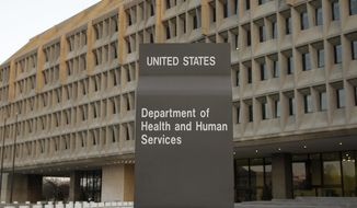 The Department of Health and Human Services building is seen in Washington on April 5, 2009. (Associated Press) **FILE**
