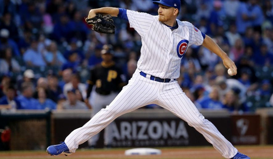 Chicago Cubs starting pitcher Mike Montgomery delivers during the first inning of a baseball game against the Pittsburgh Pirates, Monday, Aug. 28, 2017, in Chicago. (AP Photo/Charles Rex Arbogast)
